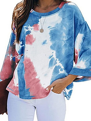 cheap Women's T-shirts-Women's T-shirt Tie Dye Round Neck Tops Loose Summer Red Blushing Pink Green