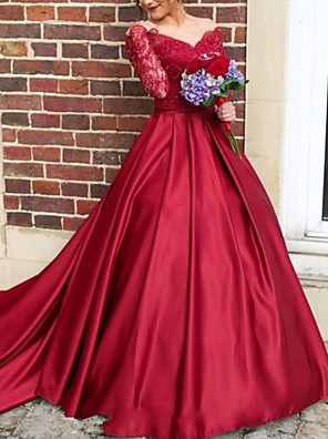 cheap Evening Dresses-Ball Gown Cut Out Luxurious Quinceanera Formal Evening Dress V Neck Long Sleeve Court Train Satin with Pleats 2020