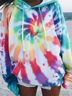 cheap Women's T-shirts-Women's Hoodie Tie Dye Basic Loose Rainbow S M L XL XXL
