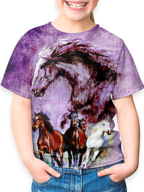 cheap Boys' Tops-Kids Boys' Sports & Outdoors Basic Holiday Horse Animal Print Short Sleeve Tee Purple