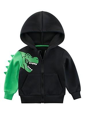 cheap Boys' Tops-Kids Toddler Boys' Active Basic Dinosaur Animal Long Sleeve Blouse Black