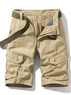 cheap Hiking Trousers & Shorts-Men's Basic Daily Slim Cotton Shorts Tactical Cargo Pants Solid Colored Sporty Breathable Summer Blue Army Green Khaki US32 / UK32 / EU40 US34 / UK34 / EU42 US36 / UK36 / EU44