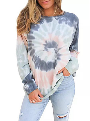 cheap Plus Size Dresses-Women's Sweatshirt Tie Dye Casual Hoodies Sweatshirts  Cotton Loose Blue Brown Rainbow