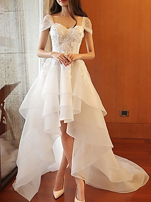 cheap Wedding Dresses-A-Line Wedding Dresses Sweetheart Neckline Sweep / Brush Train Organza Cap Sleeve Romantic with Lace Insert 2020