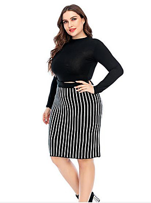 cheap Women's Pants-Women's A Line Skirts - Striped Black XL XXL XXXL