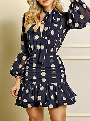 Χαμηλού Κόστους Μίνι Φορέματα-Γυναικεία Φόρεμα σε γραμμή Α Φόρεμα μέχρι το γόνατο - Μακρυμάνικο Στάμπα Με Βολάν Patchwork Φερμουάρ Άνοιξη Καλοκαίρι Καθημερινό Καθημερινά Φανάρι μανίκι Λεπτό 2020 Μαύρο Θαλασσί Τ M L XL XXL
