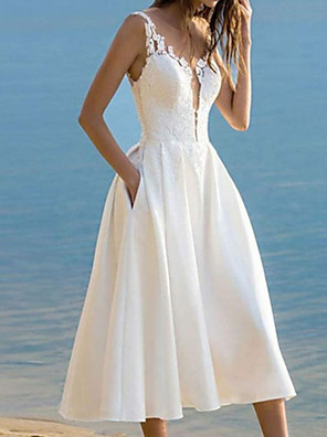 cheap Wedding Dresses-A-Line Wedding Dresses V Neck Ankle Length Lace Satin Sleeveless Vintage 1950s with 2020