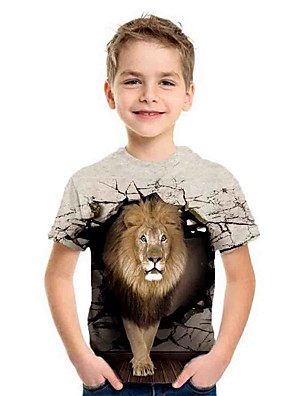 cheap Boys' Tops-Kids Boys' Sports & Outdoors Basic Holiday Lion Animal Print Short Sleeve Tee Brown