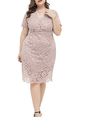 cheap Plus Size Dresses-Women's A-Line Dress Knee Length Dress - Short Sleeves Solid Color Summer Work 2020 Blushing Pink XL XXL XXXL XXXXL