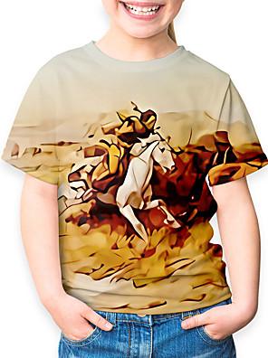 cheap Boys' Tops-Kids Boys' Sports & Outdoors Basic Holiday Horse Animal Print Short Sleeve Tee Yellow