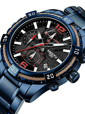 cheap Sport Watches-NIBOSI Men's Sport Watch Quartz Sporty Casual Water Resistant / Waterproof Stainless Steel Black / Blue Analog - Digital - Black Blue / Calendar / date / day / Chronograph / Noctilucent