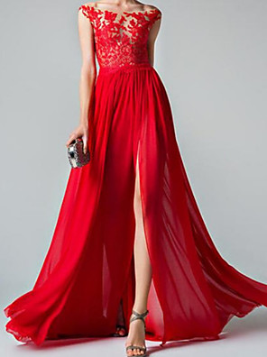 cheap Evening Dresses-A-Line Elegant Floral Wedding Guest Formal Evening Dress Illusion Neck Sleeveless Sweep / Brush Train Chiffon with Split Appliques 2020
