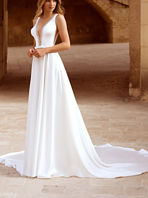 cheap Wedding Dresses-A-Line Wedding Dresses Plunging Neck Chapel Train Chiffon Sleeveless Simple with Sashes / Ribbons Bow(s) 2020
