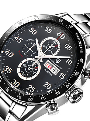 cheap Sport Watches-PAGANI Men's Sport Watch Quartz Modern Style Sporty Casual Water Resistant / Waterproof Stainless Steel Leather Black / Silver Analog - Black / Silver White+Silver Black / Calendar / date / day