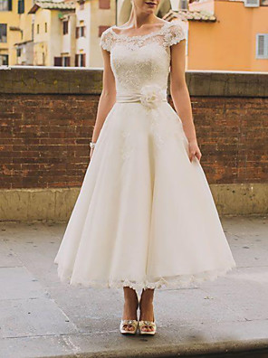 cheap Wedding Dresses-A-Line Wedding Dresses Jewel Neck Knee Length Lace Organza Short Sleeve Vintage 1950s with Appliques 2020