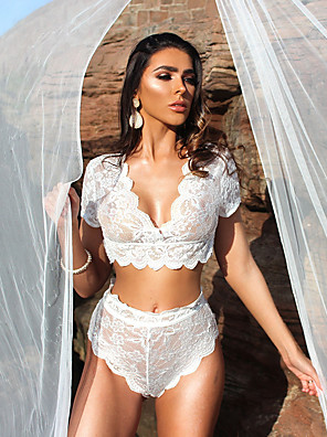 cheap Suits-Women's Lace Mesh Suits Nightwear Jacquard Solid Colored Embroidered White / Black S M L