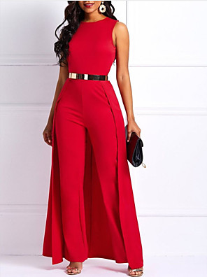 cheap Prom Dresses-Jumpsuits Empire Minimalist Wedding Guest Prom Dress Jewel Neck Sleeveless Floor Length Satin with Sash / Ribbon 2020
