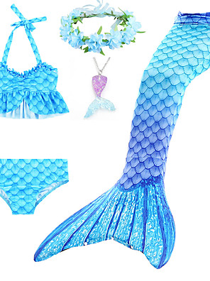 cheap Sport Watches-Kids Toddler Girls' Active Cute Mermaid Tail Color Block Rainbow Backless Ruffle Sleeveless Swimwear Blue