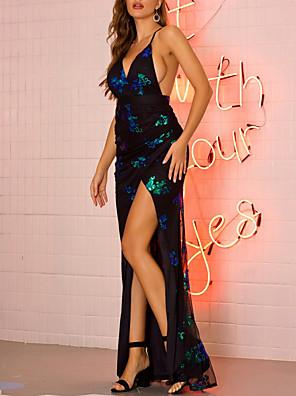 cheap Print Dresses-Women's Strap Dress Maxi long Dress - Sleeveless Backless Sequins Split Summer V Neck Sexy Cocktail Party 2020 Black Gold Green S M L XL