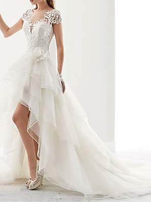cheap Wedding Dresses-A-Line Wedding Dresses Square Neck Asymmetrical Lace Tulle Sleeveless Country with Appliques 2020