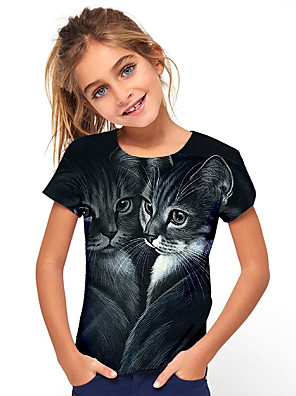 cheap Boys' Tops-Kids Girls' Basic Holiday Animal Cat Short Sleeve Tee Black