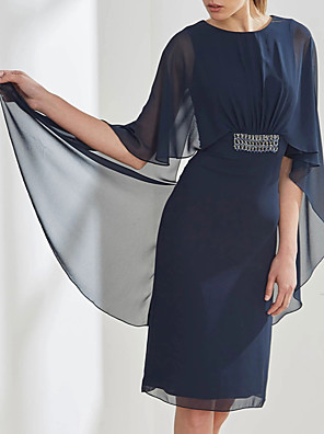 cheap Mother of the Bride Dresses-Sheath / Column Mother of the Bride Dress Elegant Jewel Neck Knee Length Chiffon 3/4 Length Sleeve with Sash / Ribbon Sequin 2020