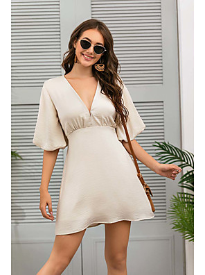 cheap Women's Dresses-Women's Sheath Dress Short Mini Dress - Half Sleeve Solid Color Summer V Neck Casual Elegant 2020 Beige S M L XL
