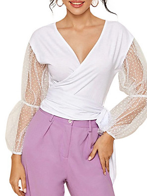cheap Prom Dresses-Women's Blouse Solid Colored V Neck Tops Cotton Summer White