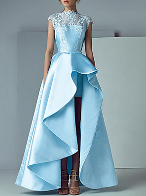 cheap Evening Dresses-A-Line Elegant Cut Out Engagement Prom Dress Jewel Neck Sleeveless Asymmetrical Satin with Sash / Ribbon Pleats Embroidery 2020