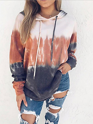 cheap Plus Size Dresses-Women's Hoodie Solid Colored Casual Hoodies Sweatshirts  Loose Blue Orange Gray