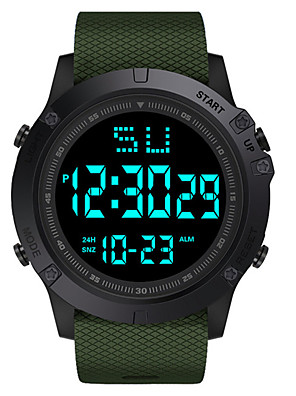 cheap Quartz Watches-Kids Digital Watch Digital Classic Water Resistant / Waterproof Silicone Black / Blue / Red Digital - Black Blue Red / Chronograph / Luminous / Large Dial