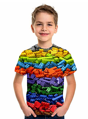 cheap Boys' Tops-Kids Boys' Basic Holiday Geometric Print Short Sleeve Tee Rainbow