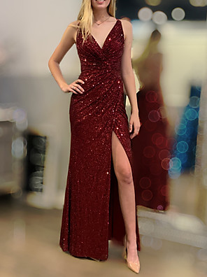 cheap Evening Dresses-Sheath / Column Sexy Sparkle Engagement Formal Evening Dress V Neck Sleeveless Floor Length Sequined with Draping Split 2020