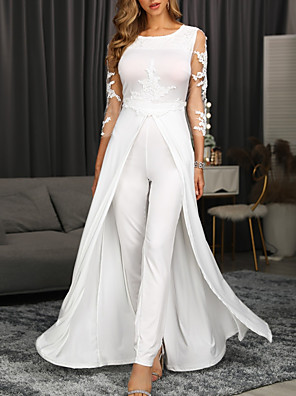 cheap Evening Dresses-Jumpsuits Elegant Floral Engagement Formal Evening Dress Jewel Neck 3/4 Length Sleeve Floor Length Chiffon with Appliques 2020