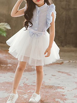 cheap Baby Girls' One-Piece-Toddler Girls' Basic Striped Short Sleeve Clothing Set Light Blue