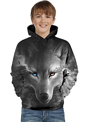 cheap Boys' Tops-Kids Toddler Boys' Active Basic Wolf Geometric 3D Animal Print Long Sleeve Hoodie & Sweatshirt Black