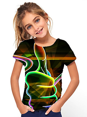 cheap Boys' Tops-Kids Girls' Basic Holiday Geometric Print leisure time Short Sleeve Tee Green