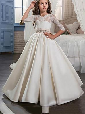 cheap Flower Girl Dresses-Princess / A-Line Floor Length Wedding / Party Flower Girl Dresses - Satin Half Sleeve Jewel Neck with Bow(s) / Pleats / Solid