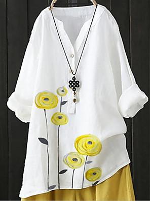 cheap Women's Blouses & Shirts-Women's Blouse Floral V Neck Tops White