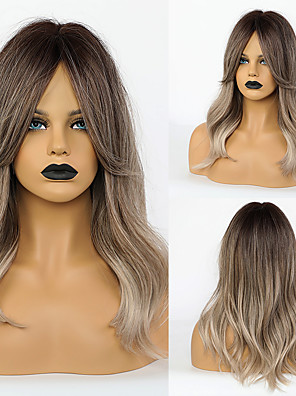cheap Quartz Watches-Synthetic Wig Body Wave With Bangs Wig Medium Length Ombre Grey Synthetic Hair 20 inch Women's Simple Fashionable Design Women Dark Gray