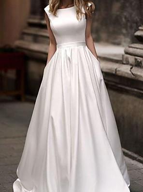 cheap Wedding Dresses-A-Line Wedding Dresses Jewel Neck Sweep / Brush Train Satin Sleeveless Simple with 2020