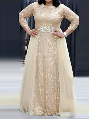 cheap Homecoming Dresses-A-Line Elegant Plus Size Engagement Formal Evening Dress Jewel Neck 3/4 Length Sleeve Floor Length Chiffon Lace with Sash / Ribbon Sequin 2020
