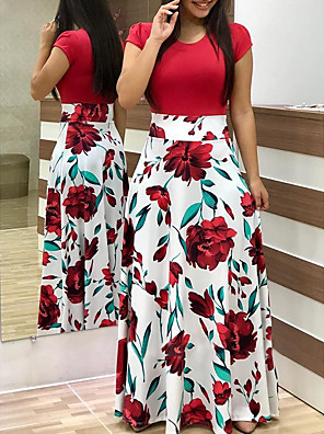 cheap Plus Size Dresses-Women's Shift Dress Maxi long Dress - Short Sleeve Floral Patchwork Print Fall Winter Chinoiserie Party Batwing Sleeve 2020 White Black Red Blushing Pink Green S M L XL XXL XXXL XXXXL XXXXXL