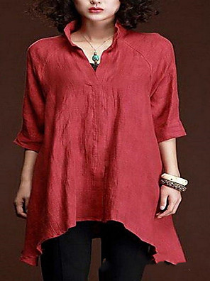 cheap Women's Blouses & Shirts-Women's Shirt Solid Colored Shirt Collar Tops Loose Summer Blue Red Khaki