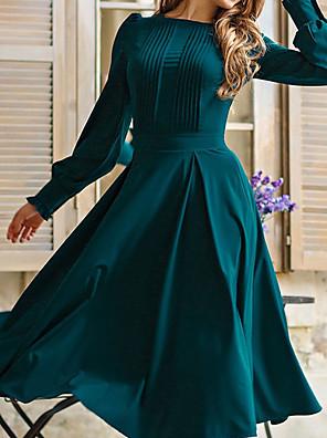 Χαμηλού Κόστους Μίνι Φορέματα-Γυναικεία Φόρεμα σε γραμμή Α Φόρεμα μέχρι το γόνατο - Μακρυμάνικο Συμπαγές Χρώμα Σουρωτά Patchwork Άνοιξη Καλοκαίρι Καθημερινό Καθημερινά Φανάρι μανίκι Φαρδιά 2020 Πράσινο του τριφυλλιού Τ M L XL XXL