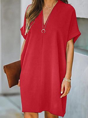 cheap Women's Blouses & Shirts-Women's A-Line Dress Knee Length Dress - Short Sleeves Solid Color Summer Elegant 2020 Black Red S M L XL XXL