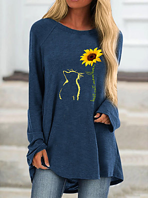 cheap Women's T-shirts-Women's T-shirt Floral Animal Long Sleeve Print Round Neck Tops Loose Basic Basic Top Fuchsia Navy Blue