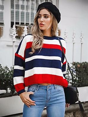 cheap Quartz Watches-Women's Striped Pullover Long Sleeve Sweater Cardigans Crew Neck Winter Red Khaki Green