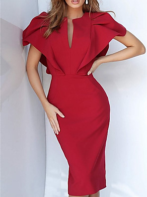 cheap Cocktail Dresses-Sheath / Column Elegant Reformation Amante Wedding Guest Formal Evening Dress V Neck Short Sleeve Knee Length Jersey with Sleek 2020