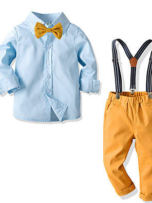 cheap Boys' Clothing Sets-Toddler Boys' Basic Street chic Street Birthday Party Solid Colored Long Sleeve Regular Regular Clothing Set Blue
